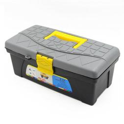 "12"" Plastic 2 Layer Lockable Hardware Tool Box Carry Parts S"