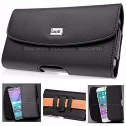 BLACK LEATHER RUGGED CELL PHONE CASE POUCH HOLSTER CLIP BELT