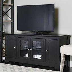 """Walker Edison 53"""" Wood TV Stand Console with Storage, Black"""