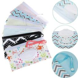 Baby Carrying Case Bag Wet Wipes Pouch Easy Carry Snap Strap