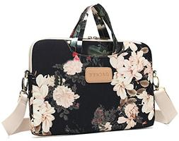 DACHEE Black Peony Patten Waterproof Laptop Shoulder Messeng