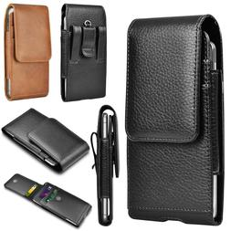 Cell Phone Holster Pouch Leather Wallet Carrying Case with B