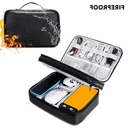 Cord Organizer Travel, Fireproof Water Resistant Compact Dou