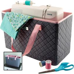 Deluxe Quilted PINK & GREY Sewing Machine Carrying Case Cove