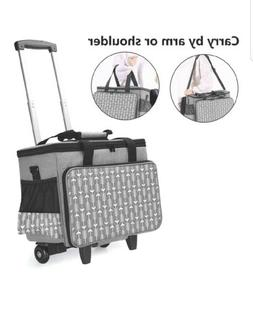 Yarwo Detachable Rolling Sewing Machine Carrying Case Trolle