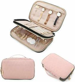 Double Layer Travel Jewelry Organizer Storage Carrying Cases