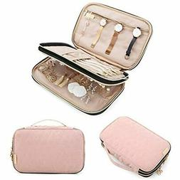 BAGSMART Double Layer Travel Jewelry Organizer Storage Carry