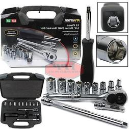 "13 PC 1/4"" Drive Ratchet Socket Set Wrench SAE Carrying Case"