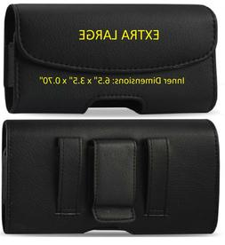 Extra large Horizontal Leather Carrying Case With Belt Clip