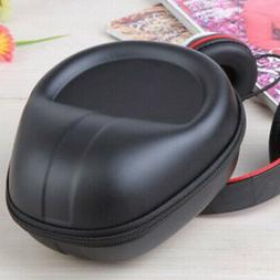 Headphone Case Travel Protective PU Leather Bag Carrying Zip