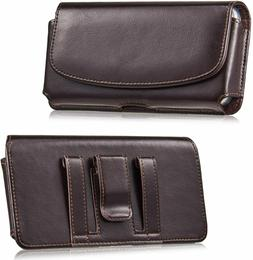 Horizontal Leather Belt Clip Case Carrying Holster Pouch For