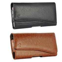 Horizontal Leather Carrying Pouch Case Cover With Belt Clip