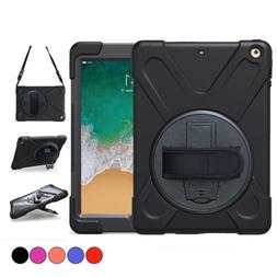 Carrying Defender Rugged Protective Case with 360 Stand Handle Hand Strap/& Shoulder Strap,Model A1893//A1954//A1822//A1823 Black iPad 9.7 2018 2017 Case,TSQ iPad 6th 5th Generation Case Cover for Kids