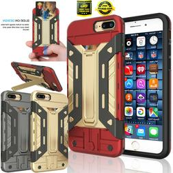 For iPhone 7 Plus + Shockproof Hybrid Wallet ID Card Holder