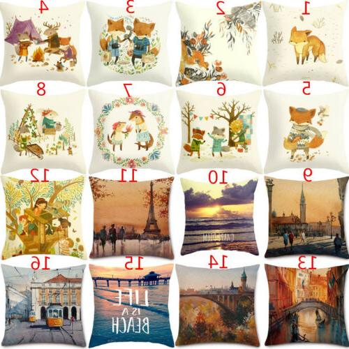 18''Oil Painting Cartoon Fox Cotton Linen Pillow Cases Pillo
