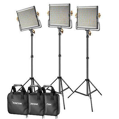 Neewer 3 set  Bi-Color 480 Dimmable Barndoor LED Video Light