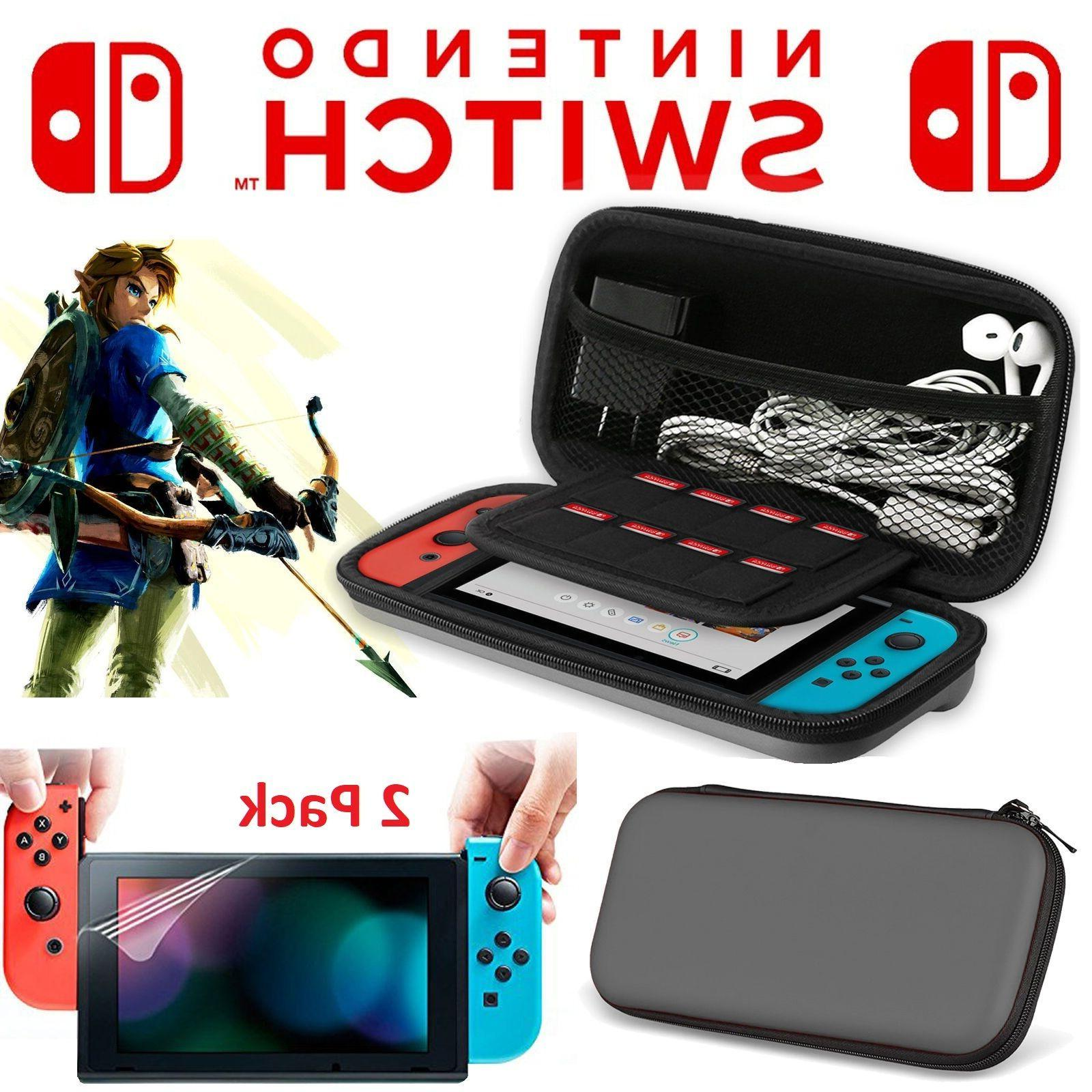3pc kit Nintendo Switch Travel Carrying Case Bag 2x Clear Sc