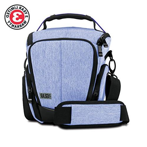 USA GEAR for Digital w/Soft Cushioned Interior, Zippered Pockets, Carry Strap - w/Nikon D3300 / D3400 Canon Rebel T6 / T6i T5 & More