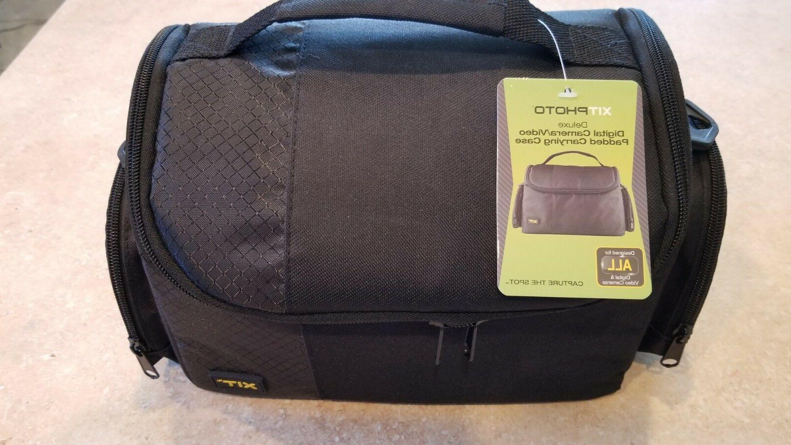 digital camera video padded carrying case black