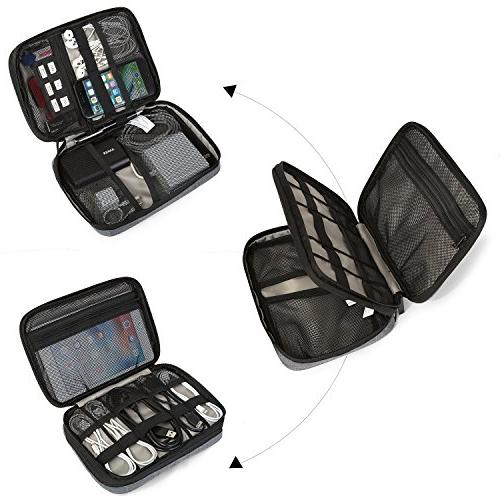 BAGSMART Double-Layer Travel Organizer Accessories for Charge, Charger, Charger,