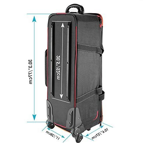 Neewer Photo Trolley Carry Bag with Padded Wheel, Stand, Strobe Umbrella, Photo Studio and Other