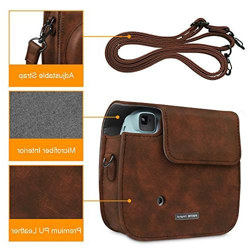 Fintie Compatible with Fujifilm Instax / Mini Instant Camera Vegan Leather Bag Strap, Brown