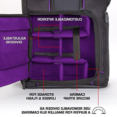 USA Camera Backpack Compartment Padded Custom Dividers, Cover. Long-Lasting & Storage - Compatible DSLR Cameras