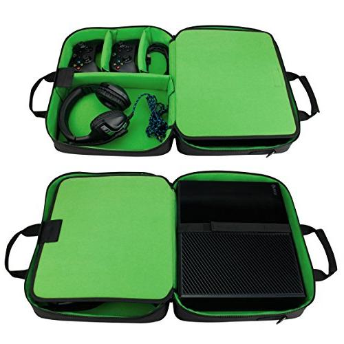 USA Case with Xbox One Carrying Bag Console, Controllers, w/ Adjustable Strap, Accessory Storage & Customizable Interior - Green