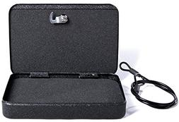 Jssmst Lockable Gun Box Pistol Case with Security Cable for