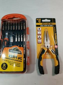 "Lot of Precision Screwdriver Set by ArmorAll 24 Pc + 5"" Long"