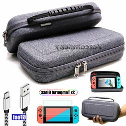 For Nintendo Switch Travel Carrying Case Gray Bag+2M Chargin