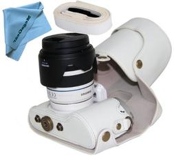 """MegaGear """"Ever Ready"""" Protective White Leather Camera Case,"""
