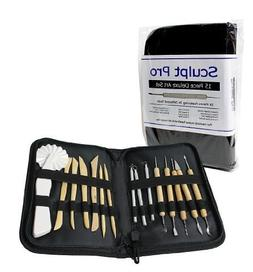 Sculpting Tools- 15 Piece Deluxe Pottery Art Tools Set with